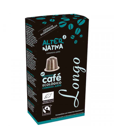 Cápsulas Biodegradables de Café Longo de Alternativa3 10 Uds Bio