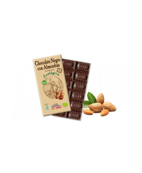 CHOCOLATE NEGRO CON ALMENDRAS 100GR BIO