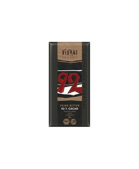 CHOCOLATE VIVANI NEGRO 92% CON AZUCAR COCO 80 GR BIO