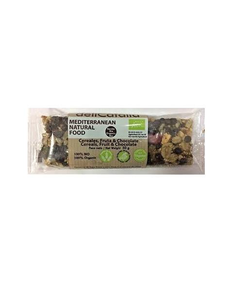 Barrita cereales frutas y chocolate Delicatalia 50 gr Bio