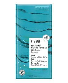 CHOCOLATE 75% CACAO FLOR DE SAL VIVANI 80 GR BIO