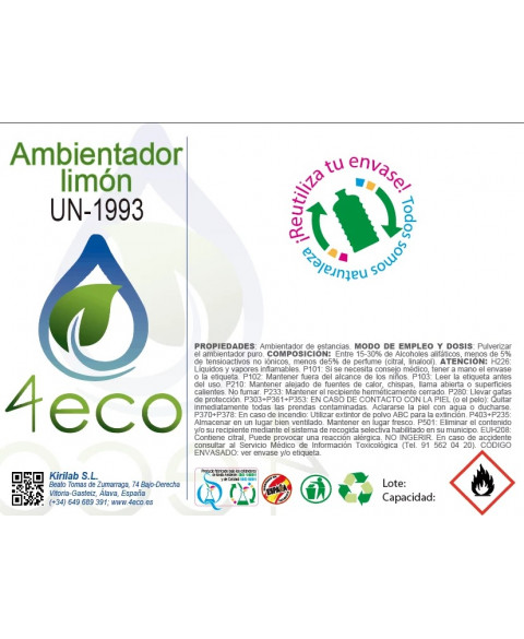 AMBIENTADOR LIMON 750 ML 4ECO