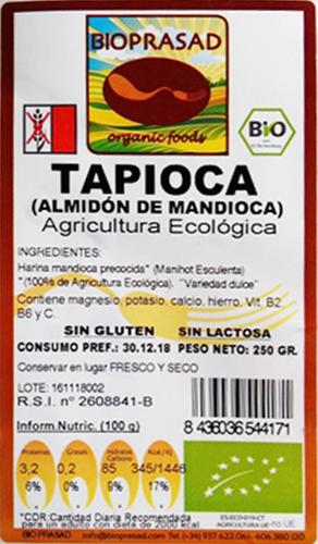 etiqueta harina tapioca 250 bioprasad