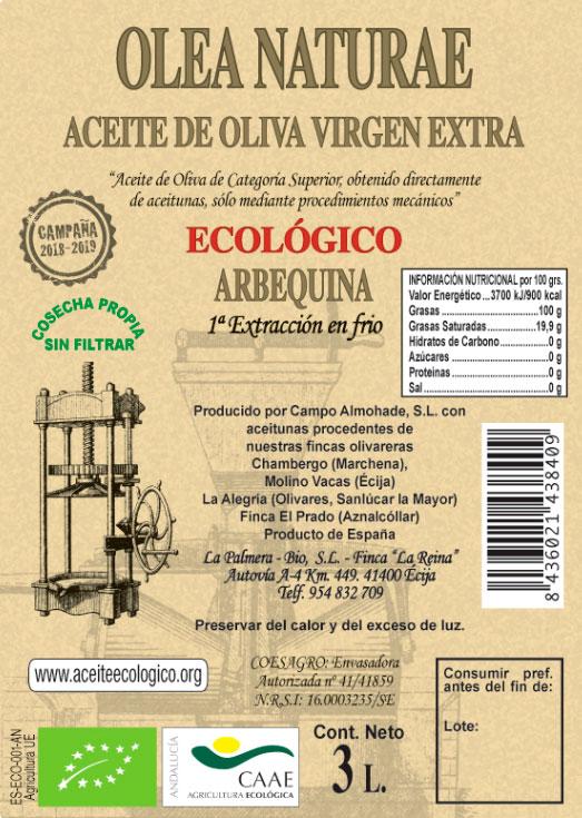 aceite oliva olae natura 3 litros etiqueta