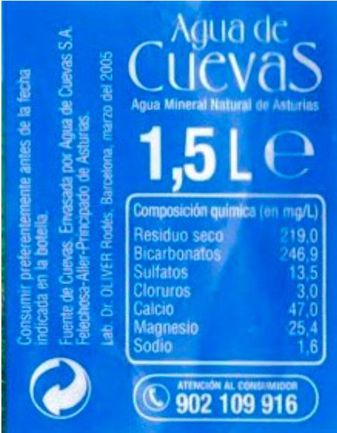 agua de cuevas 1.5 l