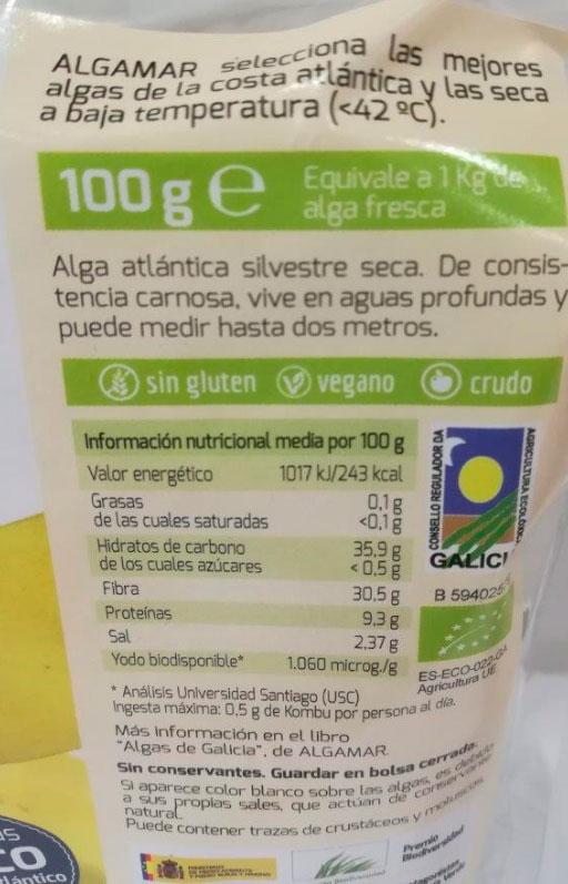 alga kombu etiquetado