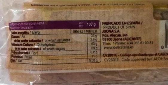 barrita de cereales con arandanos informacion