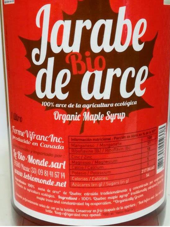 jarabe de arce biomonde etiqueta