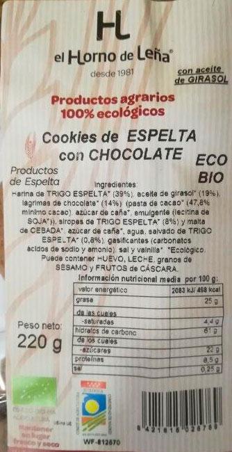 cookies de espelta y chocolate horno de leña