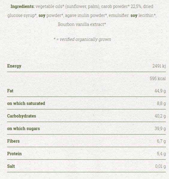 Crema de algarroba etiquetado bio
