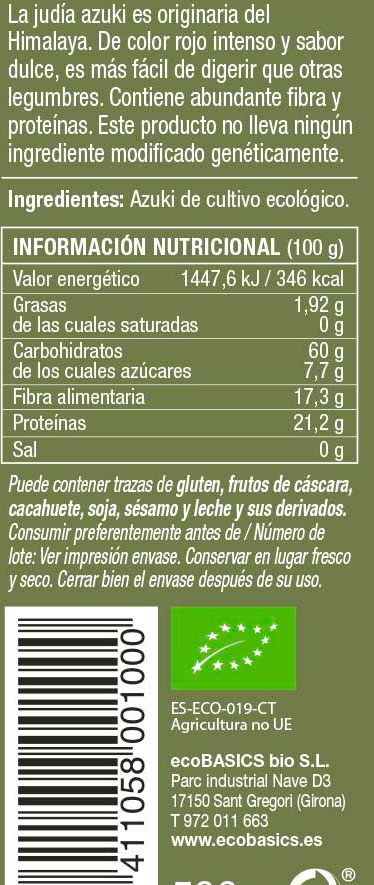 eco basics azuki bio etiqueta