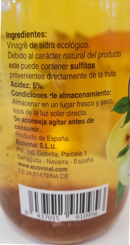 ecovinal vinagre manzana sin filtrar 1