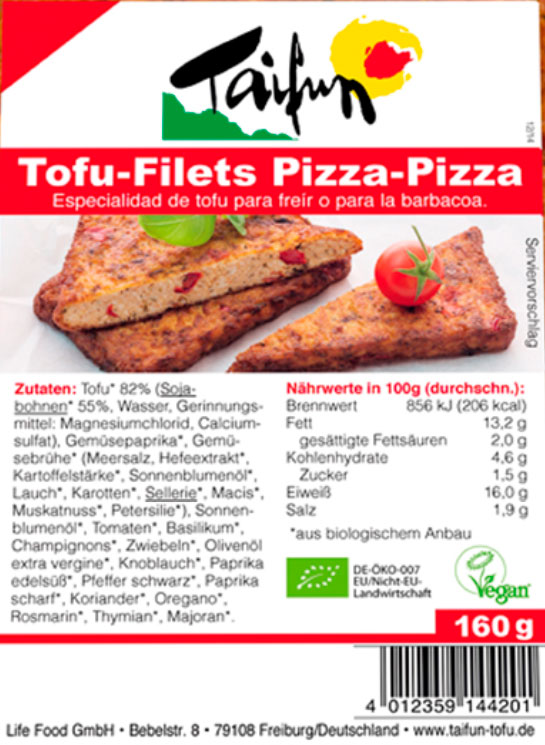 filetes de tofu pizza taifun etiqueta