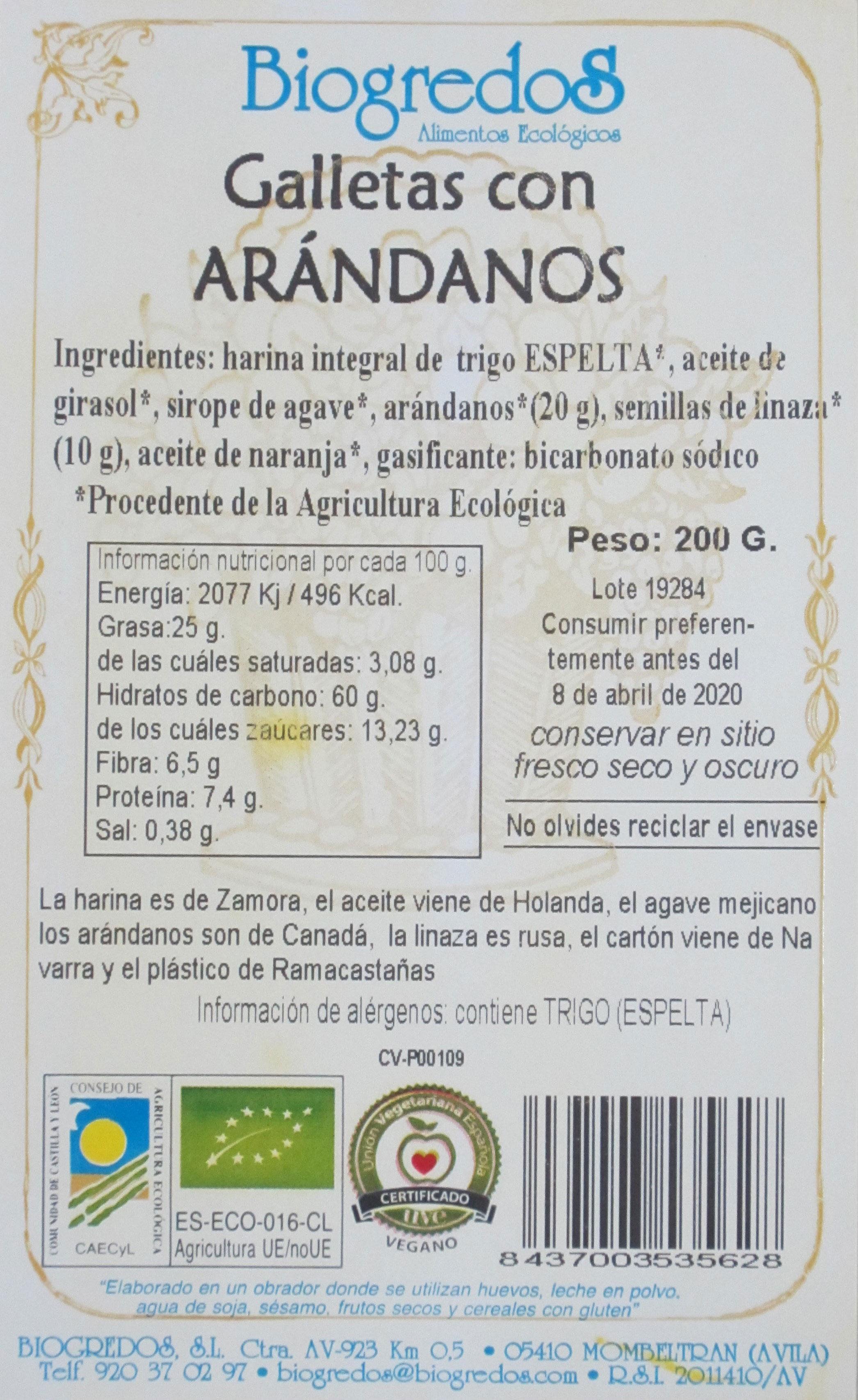 galletas arandanos biogredos etiqueta
