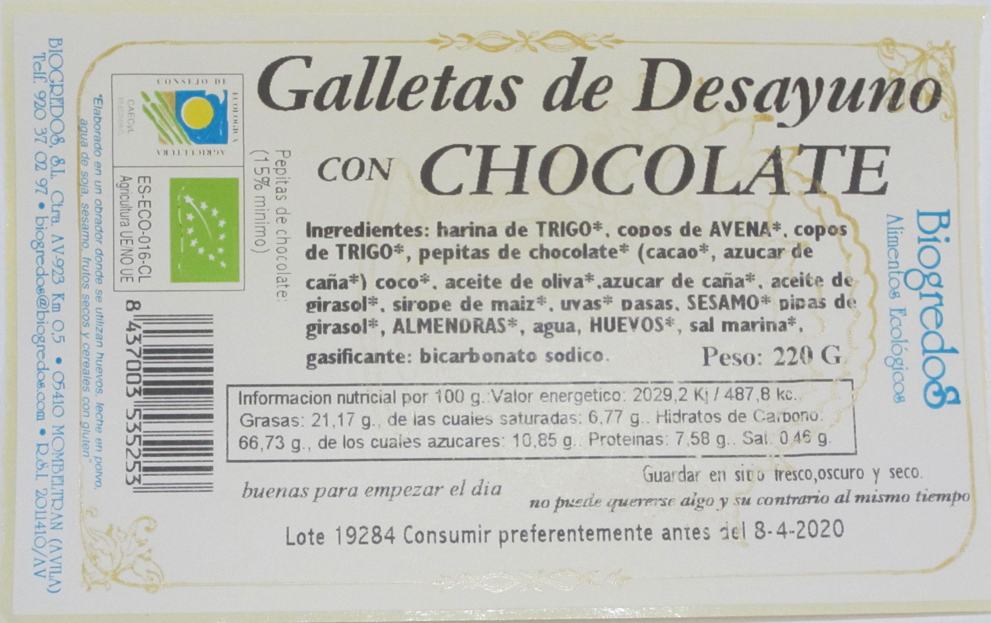galleta desayuno chocolate bio