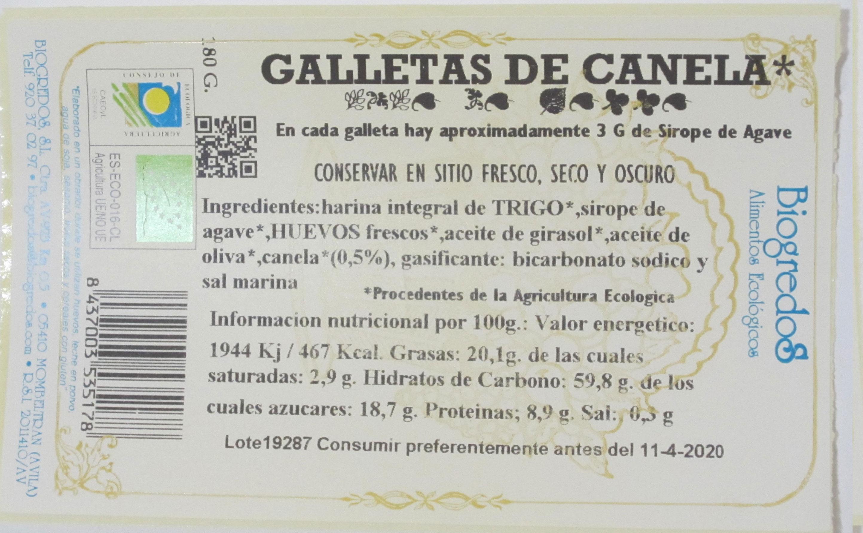 galleta biogredos canela etiqueta