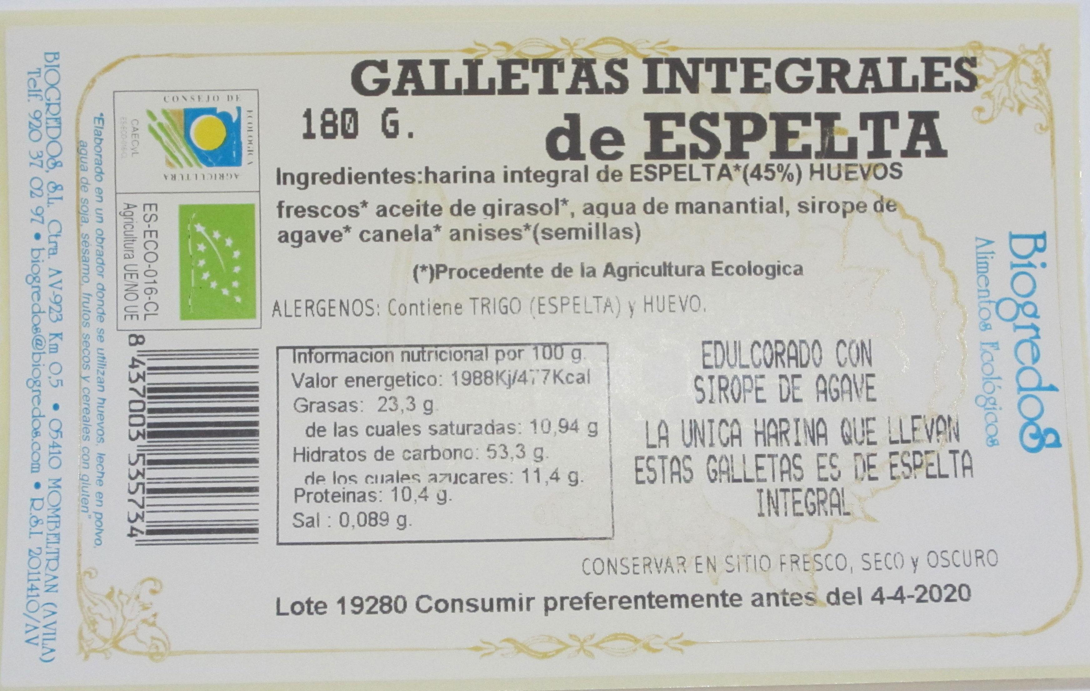 galleta de espelta biogredos 200gr BIO