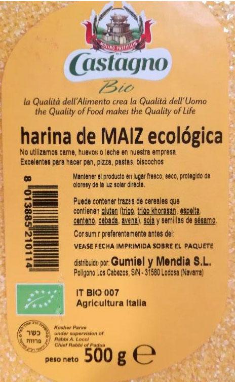 harina de maiz castagno etiqueta
