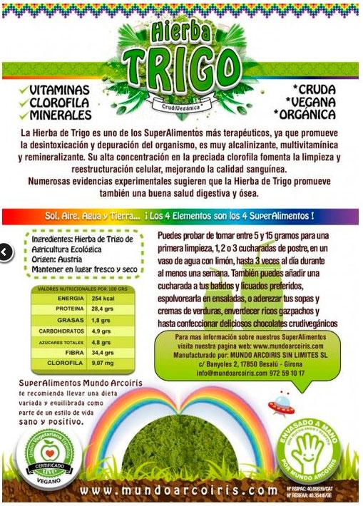 hierba trigo etiqueta
