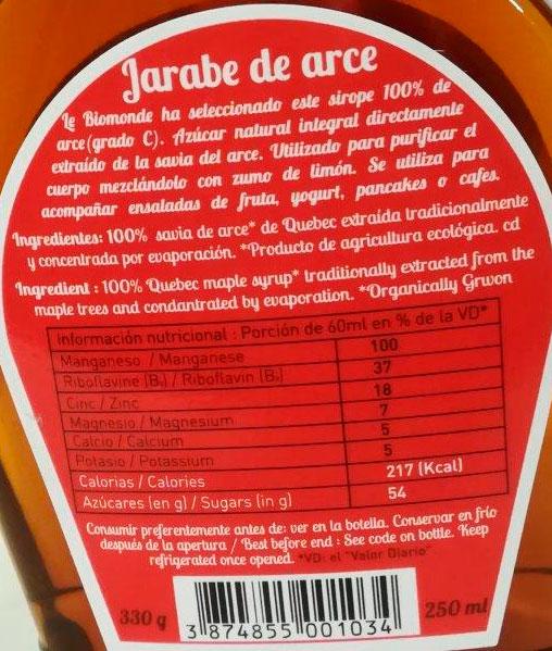 jarabe de arce etiqueta biomonde