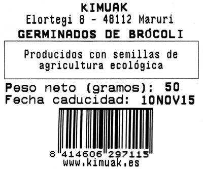 germinado de brocoli etiqueta