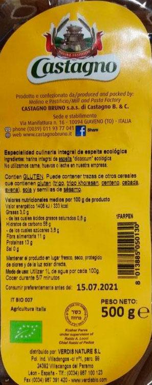 macarron de espelta integral 500 gr bio