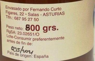 miel de brezo 800 etiqueta