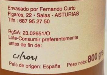 miel de castaño 800 gr etiqueta