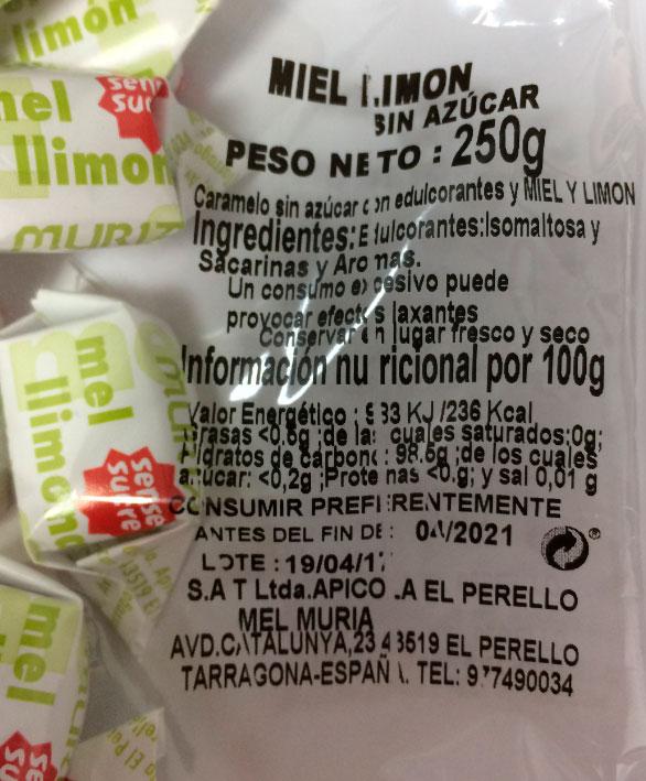 caramelo sin azucar miel y limon etiqueta