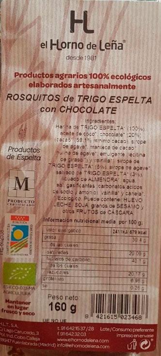 rosquitos de spelta con chocolate horno de leñá