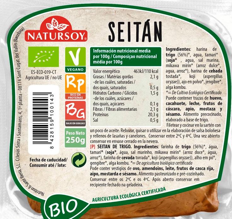 seitan de trigo etiqueta natursoy