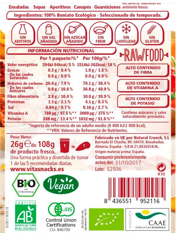snack de boniato crujiente 26 gr