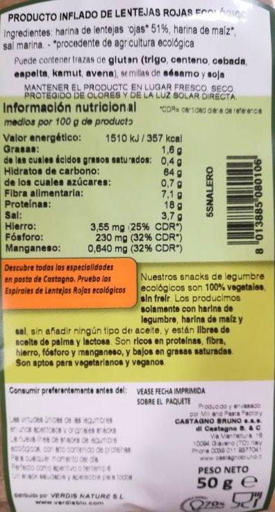 snack de lenteja roja etiqueta