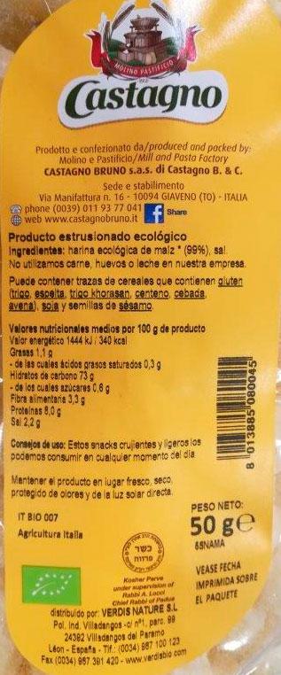 snack de maiz castagno etiqueta
