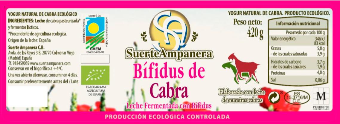 bifidus de cabra suerteampanera etiqueta