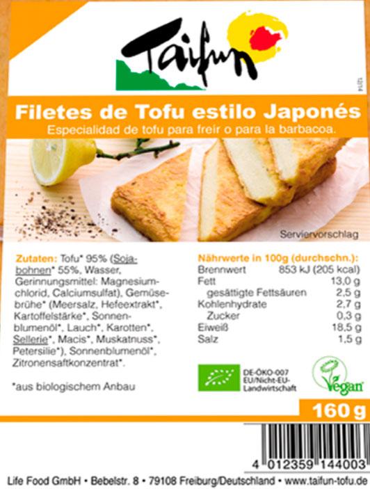 taifun filetes de tofu estilo japones