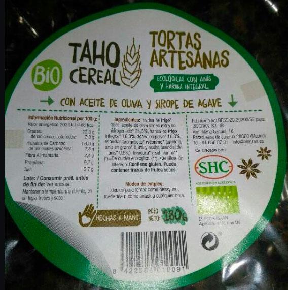 TORTAS ARTESANAS TAHO CEREAL 180 GR