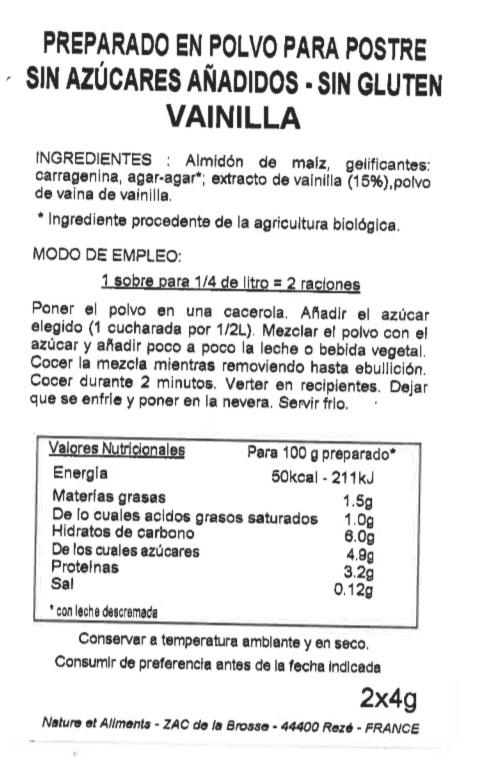 bio flan vainilla etiqueta