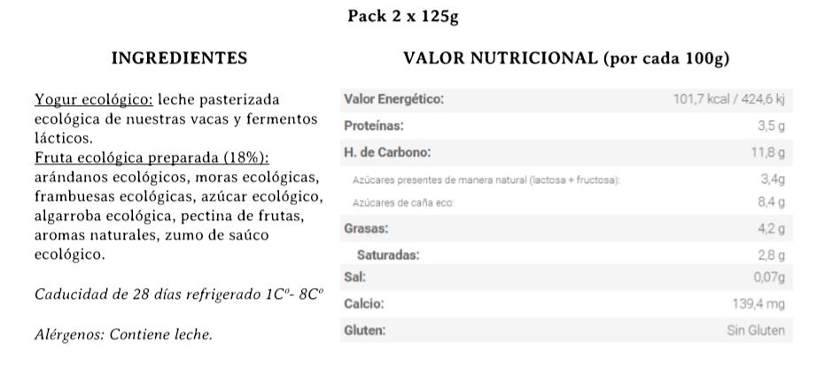 yogur con frutas del bosque bio