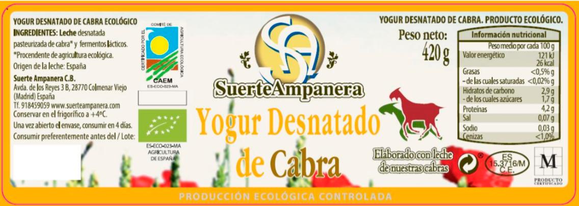yogur desnatado cabra 430 ml etiqueta