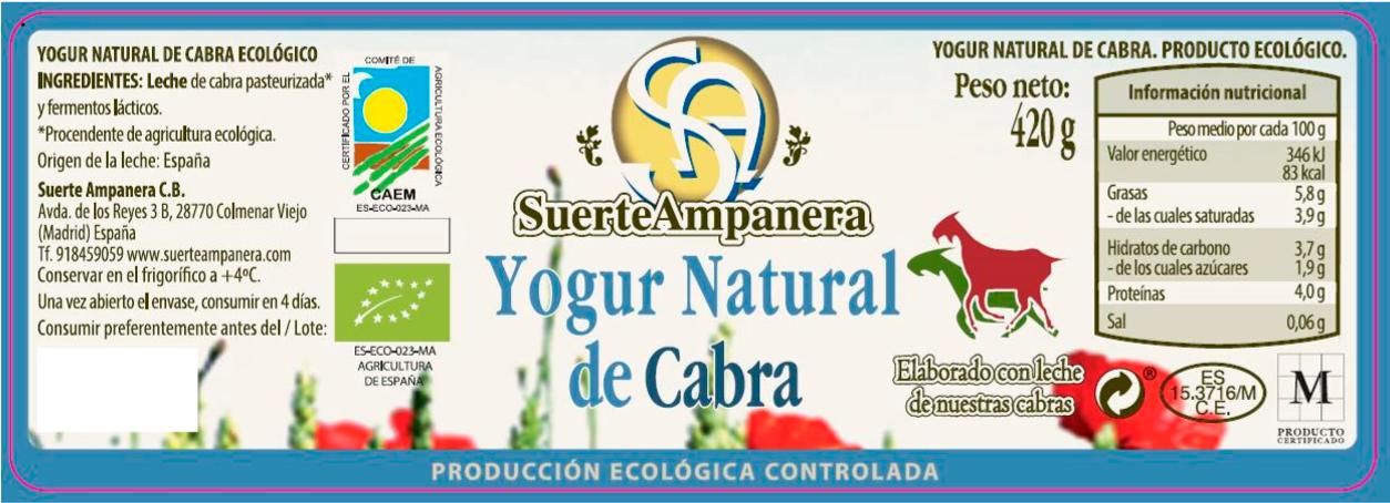 yogur natural de cabra bio etiqueta